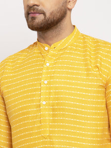 Jompers Men Yellow Woven Design Straight Kurta Only