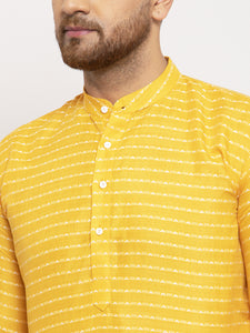 Jompers Men Yellow Woven Design Straight Kurta with Churidar ( JOKP 616 Yellow )