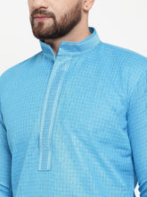 Load image into Gallery viewer, Jompers Men Blue & White Embroidered Kurta with Churidar