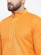 Load image into Gallery viewer, Jompers Men Orange & White Embroidered Kurta with Churidar