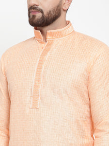 Jompers Men Peach & White Embroidered Kurta with Churidar