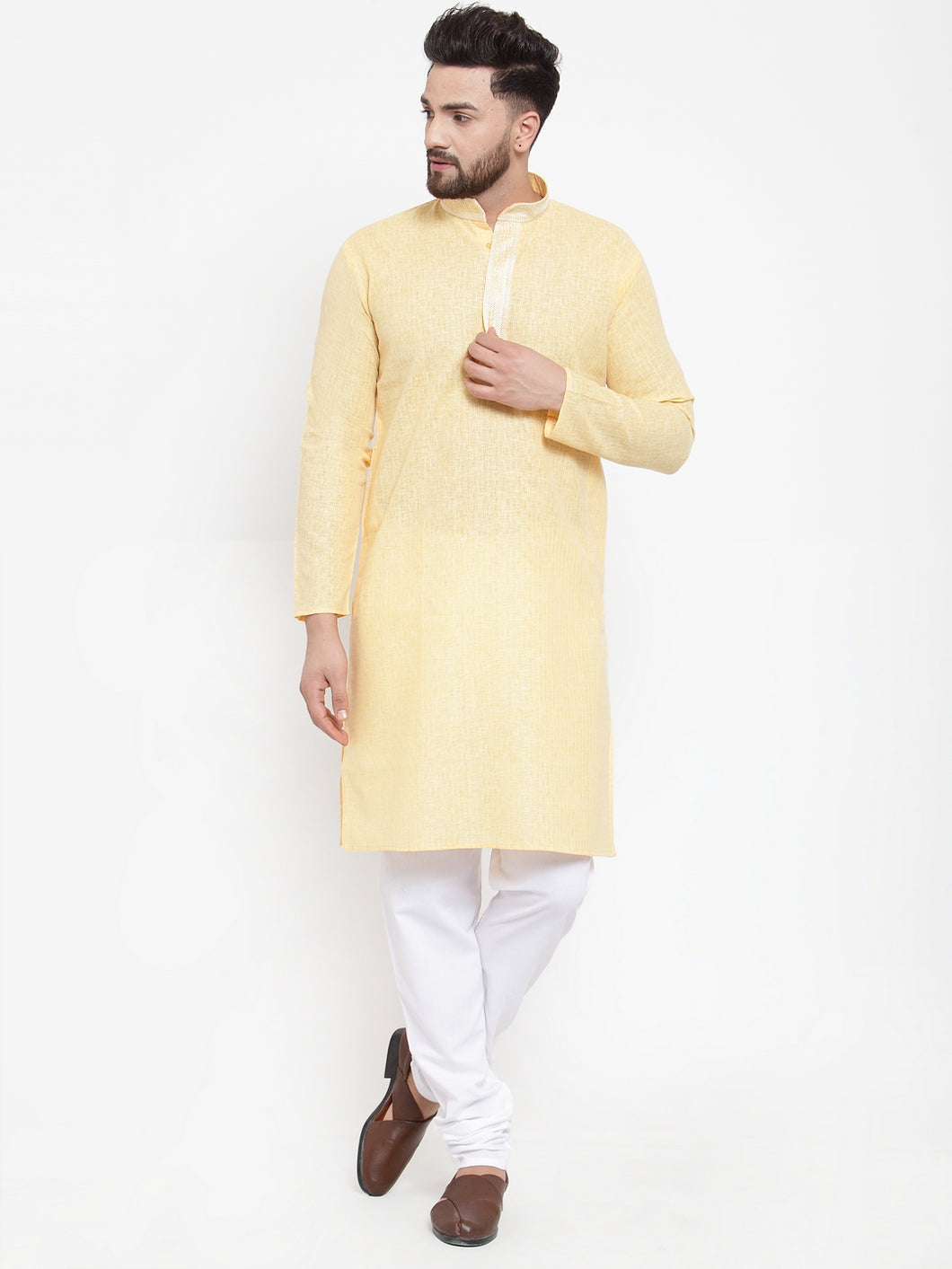 Jompers Men Yellow & White Embroidered Kurta with Churidar