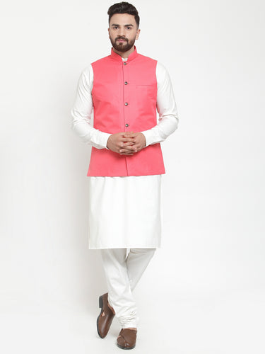 Jompers Men White Solid Kurta & Peach Waist Coat  with Churidar
