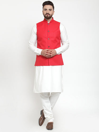 Jompers Men White Solid Kurta & Red Waist Coat  with Churidar