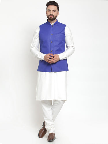 Jompers Men White Solid Kurta & Royal-Blue Waist Coat  with Churidar
