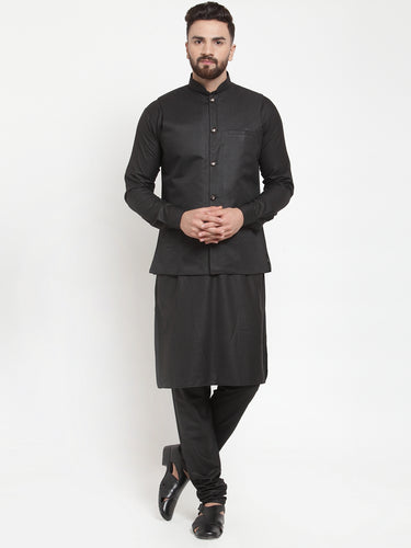 Jompers Men Black Solid Kurta & Black Waist Coat  with Churidar