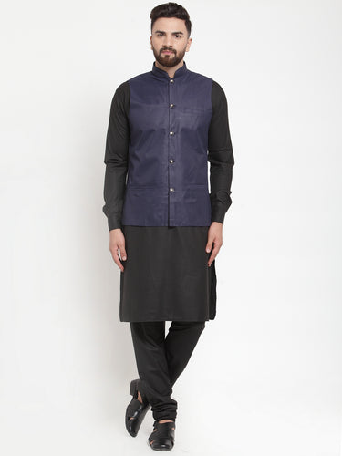 Jompers Men Black Solid Kurta & Navy-Blue Waist Coat  with Churidar