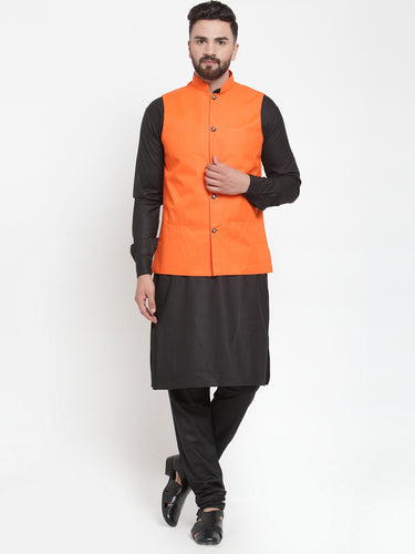 Jompers Men Black Solid Kurta & Orange Waist Coat  with Churidar