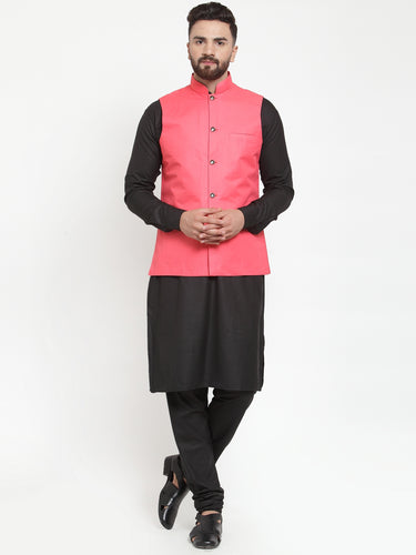 Jompers Men Black Solid Kurta & Peach Waist Coat  with Churidar