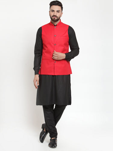 Jompers Men Black Solid Kurta & Red Waist Coat  with Churidar