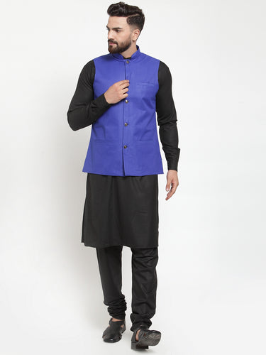 Jompers Men Black Solid Kurta & Royal-Blue Waist Coat  with Churidar