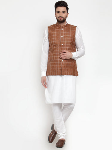 Jompers Men White Solid Kurta & Brown Checked Waist Coat  with Churidar