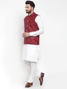 Jompers Men White Solid Kurta & Maroon Checked Waist Coat  with Churidar