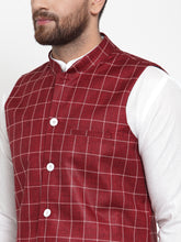 Load image into Gallery viewer, Jompers Men White Solid Kurta & Maroon Checked Waist Coat  with Churidar