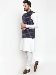 Jompers Men White Solid Kurta & Navy-Blue Checked Waist Coat  with Churidar