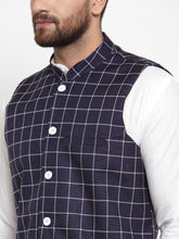 Load image into Gallery viewer, Jompers Men White Solid Kurta & Navy-Blue Checked Waist Coat  with Churidar