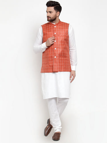 Jompers Men White Solid Kurta & Peach Checked Waist Coat  with Churidar