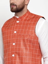 Load image into Gallery viewer, Jompers Men White Solid Kurta & Peach Checked Waist Coat  with Churidar
