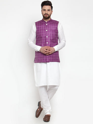 Jompers Men White Solid Kurta & Purple Checked Waist Coat  with Churidar