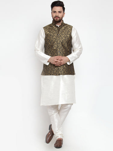 Jompers Men Off-White Solid Kurta with Churidar & Golden Jacquard Nehru Jacket