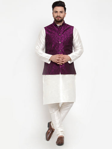 Jompers Men Off-White Solid Kurta with Churidar & Purple Jacquard Nehru Jacket