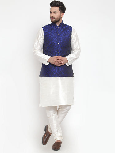 Jompers Men Off-White Solid Kurta with Churidar & Royal-Blue Jacquard Nehru Jacket