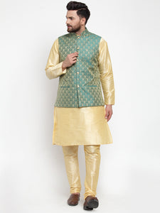 Jompers Men Golden Solid Kurta with Churidar & Green Jacquard Nehru Jacket