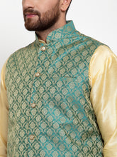 Load image into Gallery viewer, Jompers Men Golden Solid Kurta with Churidar & Green Jacquard Nehru Jacket