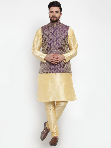 Jompers Men Golden Solid Kurta with Churidar & Purple Jacquard Nehru Jacket