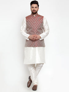 Jompers Men Off-White Solid Kurta with Churidar & Maroon Jacquard Nehru Jacket