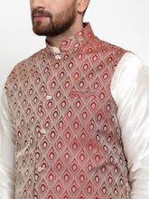 Load image into Gallery viewer, Jompers Men Off-White Solid Kurta with Churidar & Maroon Jacquard Nehru Jacket