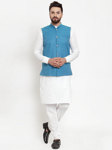 Jompers Men White Solid Kurta & Turquoise Blue Waist Coat  with Churidar