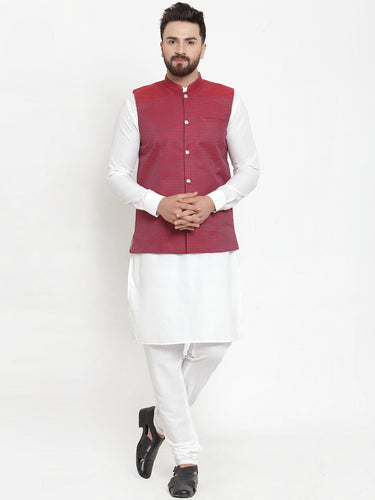 Jompers Men White Solid Kurta & Maroon Waist Coat  with Churidar