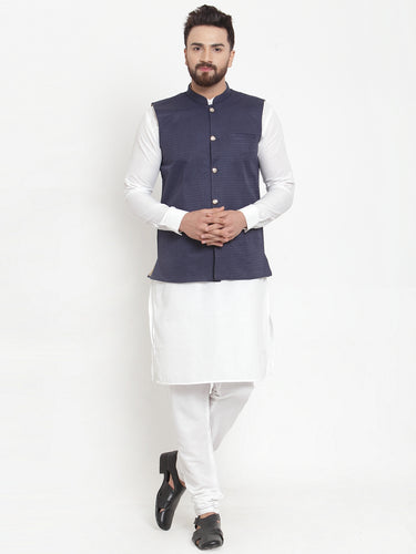 Jompers Men White Solid Kurta & Navy-Blue Waist Coat  with Churidar