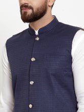 Load image into Gallery viewer, Jompers Men White Solid Kurta & Navy-Blue Waist Coat  with Churidar