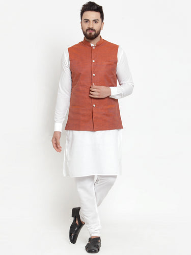 Jompers Men White Solid Kurta & Orange Waist Coat  with Churidar
