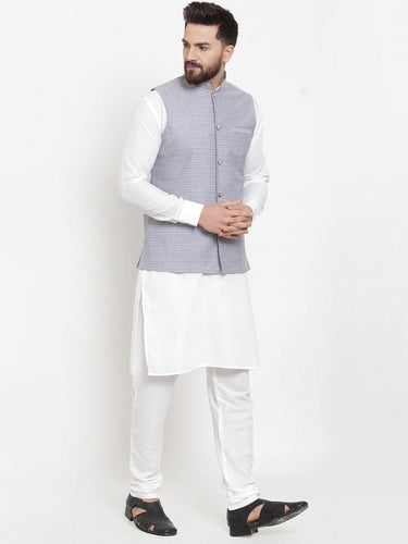 Jompers Men White Solid Kurta & Steel-Blue Waist Coat  with Churidar