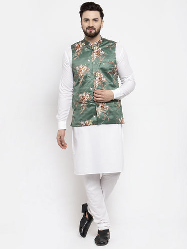 Jompers Men White Solid Kurta with Churidar & Green Printed Nehru Jacket