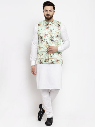 Jompers Men White Solid Kurta with Churidar & Lime-Green Printed Nehru Jacket