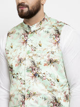 Load image into Gallery viewer, Jompers Men White Solid Kurta with Churidar & Lime-Green Printed Nehru Jacket