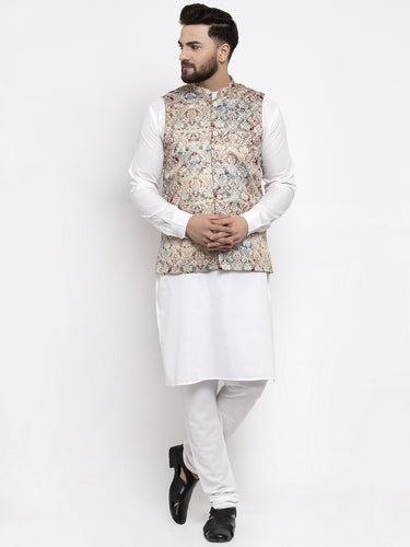 Jompers Men White Solid Kurta with Churidar & Multi-color Printed Nehru Jacket