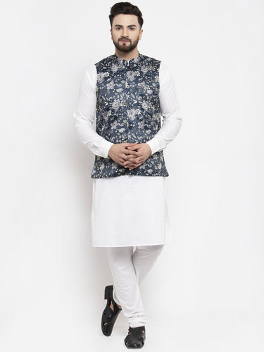Jompers Men White Solid Kurta with Churidar & Navy-Blue Printed Nehru Jacket