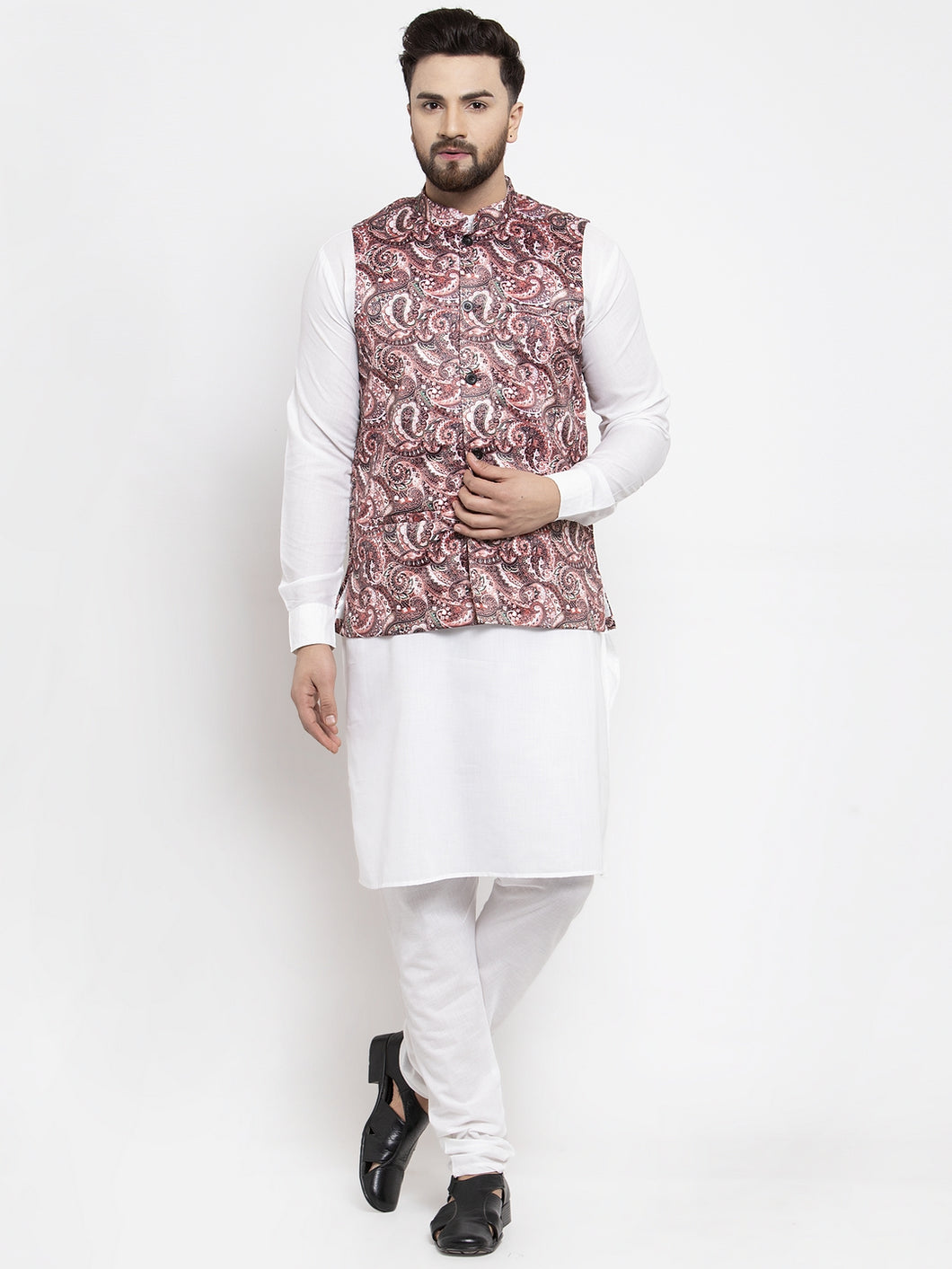 Jompers Men White Solid Kurta with Churidar & Pink Printed Nehru Jacket