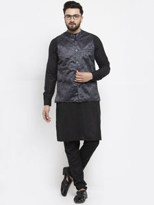 Jompers Men Black Solid Kurta with Churidar & Charcoal Grey Printed Nehru Jacket