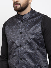 Load image into Gallery viewer, Jompers Men Black Solid Kurta with Churidar & Charcoal Grey Printed Nehru Jacket