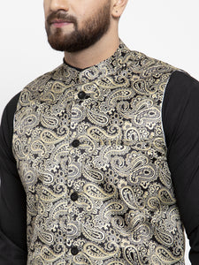Jompers Men Black Solid Kurta with Churidar & Golden Printed Nehru Jacket