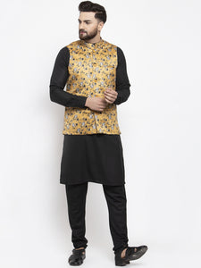 Jompers Men Black Solid Kurta with Churidar & Mustard Printed Nehru Jacket