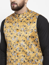 Load image into Gallery viewer, Jompers Men Black Solid Kurta with Churidar & Mustard Printed Nehru Jacket