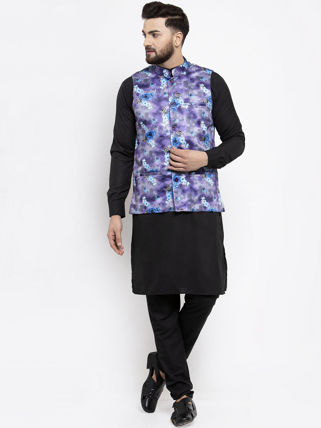 Jompers Men Black Solid Kurta with Churidar & Voilet Printed Nehru Jacket