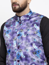 Load image into Gallery viewer, Jompers Men Black Solid Kurta with Churidar & Voilet Printed Nehru Jacket